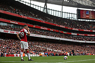 Granit Xhaka Of Arsenal stands ready before he takes a free kick.<br /> Premier league match, Arsenal v Brighton & Hove Albion at the Emirates Stadium in London on Sunday 1st October 2017. pic by Kieran Clarke, Andrew Orchard sports photography.