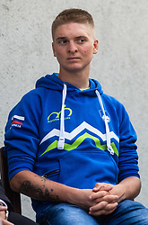 Jaka Primozic during press conference of Slovenian national cycling team before world championship in Yorkshire, Great Britain. Press conference held in Dvor Jezersek, on 17th of September, 2019, Kranj, Slovenia. Photo by Grega Valancic / Sportida