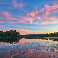 New England sunset photography from Lake Waban in Wellesley Massachusetts. This Massachusetts lake with Wellesley College nearby are inspiring and make for a beautiful New England nature photography location to visit and to get lost with a camera.<br />