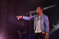 September 9, 2017 - Napoli, Italy - The Italian singer-songwriter Francesco Gabbani winner of the 67th Sanremo Festival, live at ''Arenile di Bagnoli'' in Napoli. (Credit Image: © Paola Visone/Pacific Press via ZUMA Wire)