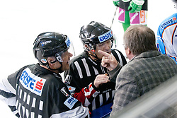 Kevin Primeau, head coach of SAPA Fehervar AV19, arguing with referee during ice-hockey match between HDD Tilia Olimpija and SAPA Fehervar AV 19 in 19th Round of EBEL league, on November 4, 2011 at Hala Tivoli, Ljubljana, Slovenia. (Photo By Matic Klansek Velej / Sportida)
