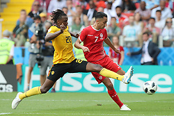 MOSCOW, June 23, 2018  Saifeddine Khaoui (R) of Tunisia vies with Dedryck Boyata of Belgium during the 2018 FIFA World Cup Group G match between Belgium and Tunisia in Moscow, Russia, June 23, 2018. Belgium won 5-2. (Credit Image: © Yang Lei/Xinhua via ZUMA Wire)