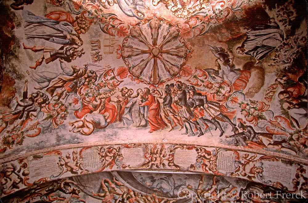 MEXICO, COLONIAL CITIES Atotonilco Sanctuary near San Miguel de Allende, 1810, revolutionary site, interior with religous folk murals