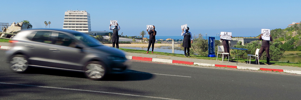 South Africa - Plettenberg Bay - 22 June 2020 - Pictured is the Fat Fish Restaurant in Plett taking part in the protest. Restaurants, cafes and eateries around the country stood together in solidarity by taking part in the 'million seats on the streets' peaceful protest. The protest, organised by the Restaurant Association of South Africa (RASA) has been deemed the biggest protest in history by the South African restaurant industry and took place from 12pm to 2pm. The protest, organised by the Restaurant Association of South Africa (RASA) has been deemed the biggest protest in history by the South African restaurant industry and took place from 12pm to 2pm. It has been estimated that up to 70 per cent of jobs, accounting for an estimated 800 000 people, have been lost to date. Picture: David Ritchie/African News Agency(ANA)