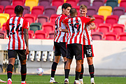 Goal 2-0 Brentford forward Marcus Forss (15) scores a goal  and celebrates during the EFL Sky Bet Championship match between Brentford and Huddersfield Town at Brentford Community Stadium, Brentford, England on 19 September 2020.