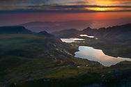 Seven Rila lakes in Rila Mountains at sunrise