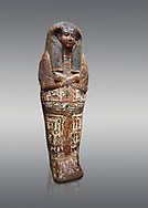 Ancient Egyptian sarcophagus of Royal scribe Butehamon, Thebes, 21st Dynasty, reign of Ramese XI, (1078 or 1077 BC ). Egyptian Museum, Turin. Grey background<br /> <br /> <br /> Butehamon was a key figure between the end of the New Kingdom (Twentieth Dynasty, reign of Ramesse XI) and the beginning of the Third Intermediate Period (Twenty-First Dynasty, reign of Smendes). Born into an illustious family he became a man of letters .<br /> <br /> If you prefer to buy from our ALAMY PHOTO LIBRARY  Collection visit : https://www.alamy.com/portfolio/paul-williams-funkystock/ancient-egyptian-art-artefacts.html  . Type -   Turin   - into the LOWER SEARCH WITHIN GALLERY box. Refine search by adding background colour, subject etc<br /> <br /> Visit our ANCIENT WORLD PHOTO COLLECTIONS for more photos to download or buy as wall art prints https://funkystock.photoshelter.com/gallery-collection/Ancient-World-Art-Antiquities-Historic-Sites-Pictures-Images-of/C00006u26yqSkDOM