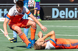 (L-R) Thierry Brinkman of The Netherlands, Jeroen Hertzberger of The Netherlands during the Champions Trophy match between the Netherlands and India on the fields of BH&BC Breda on June 30, 2018 in Breda, the Netherlands