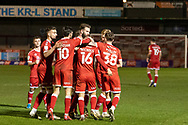 GOAL 1-0 Crawley Town celebrate their late equaliser in the EFL Sky Bet League 2 match between Crawley Town and Walsall at The People's Pension Stadium, Crawley, England on 16 March 2021.