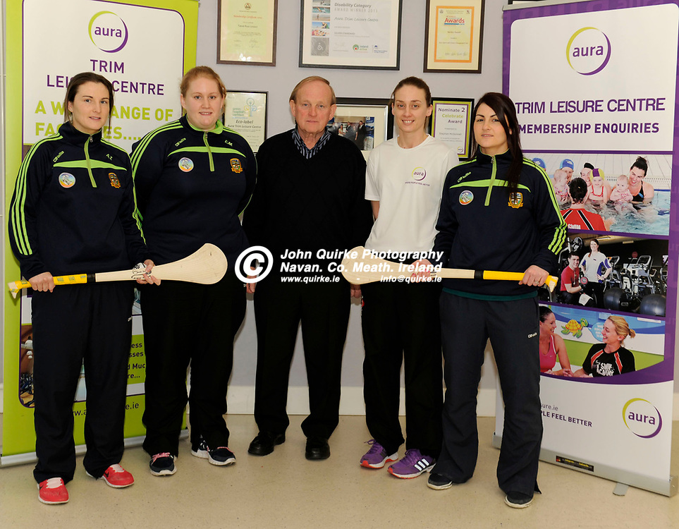 30-01-15. Aura Trim Leasure Centre Sponsorship of Meath Camogie Team Launch.<br /> L to R: Aoife Thompson and Emily Mangan (Players), John Davis,  Manager, Meath camogie team. Lorna Donegan, Manager, Trim Leasure Centre and Edel Guy (Player).<br /> Photo: John Quirke / www.quirke.ie<br /> ©John Quirke Photography, Unit 17, Blackcastle Shopping Cte. Navan. Co. Meath. 046-9079044 / 087-2579454.