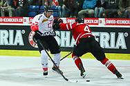 01.Mai 2012; Kloten; Eishockey - Schweiz - Kanada; Nino Niederreiter (L, SUI) gegen Jay Bouwmeester (R, CAN)<br />  (Thomas Oswald)