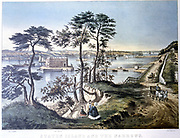 Staten Island and the Narrows New York viewed from Fort Hamilton. Fort Layfayette centre framed by trees. Lithograph by Currier and Ives, New York, c1870.