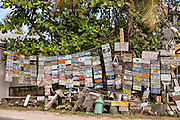 Quirky signs and old license plates at Uncle Ralph's Aura Corner, Dunmore Town, Harbour Island, The Bahamas.