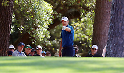 April 6, 2018 - Augusta, GA, USA - Jordan Spieth lines up his shot from the woods on the first hole which he double bogey'd during the second round of the Masters at Augusta National Golf Club on Friday, April 6, 2018, in Augusta, Ga. (Credit Image: © Jason Getz/TNS via ZUMA Wire)