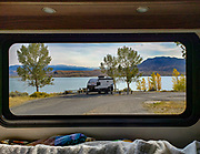At North Shore Campground, view Buffalo Bill Reservoir through the back the window of our RV in Buffalo Bill State Park, Cody, Wyoming, USA.
