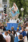 Israel, Haifa, Our Lady of Mt. Carmel Greek Orthodox Parish Church procession. The statue of Merry with Baby Christ. Sunday, 29th April 2007
