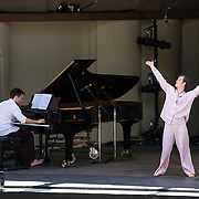 """Dancer Dallas McMurray and pianist Colin Fowler perform """"Ten Suggestions"""" at Libbey Bowl on June 9, 2013 in Ojai, California."""