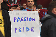 Aston Villa fans hold up a banner before the match.<br /> Barclays Premier League match, Aston Villa v AFC Bournemouth at Villa Park in Birmingham, The Midlands on Saturday 09th April 2016.<br /> Pic by Ian Smith, Andrew Orchard Sports Photography.