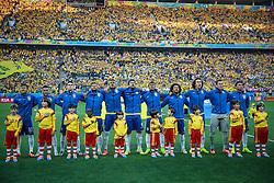 Equipe do Brasil canta o hino nacional na abertura da Copa do Mundo 2014, no Estádio Arena Corinthians, em São Paulo. FOTO: Jefferson Bernardes/ Agência Preview