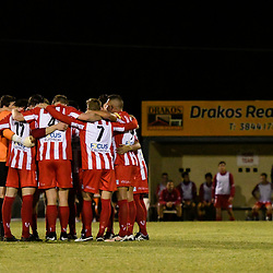 BRISBANE, AUSTRALIA - APRIL 13: Olympic FC players united during the NPL Queensland Senior Men's Round 4 match between Olympic FC and Moreton Bay Jets at Goodwin Park on April 13, 2017 in Brisbane, Australia. (Photo by Patrick Kearney/Olympic FC)