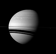 The Cassini spacecraft examines Saturn and the planet's northern hemisphere, which was ravaged by a huge storm for much of 2011.