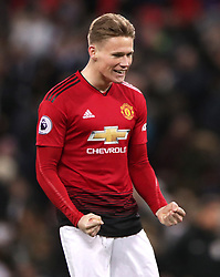 Manchester United's Scott McTominay celebrates victory after the Premier League match at Wembley Stadium, London.
