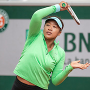 PARIS, FRANCE May 25. Naomi Osaka of Japan practicing on Court Simonne Mathieu in preparation for the 2021 French Open Tennis Tournament at Roland Garros on May 25th 2021 in Paris, France. (Photo by Tim Clayton/Corbis via Getty Images)