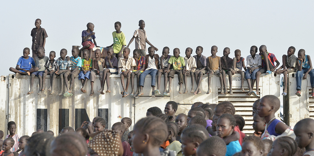 Children inside a United Nations base in Malakal, South Sudan. More than 20,000 civilians have lived inside the base since shortly after the country's civil war broke out in December, 2013, but renewed fighting in 2015 drove another 5,000 people into the relative safety of the camp.