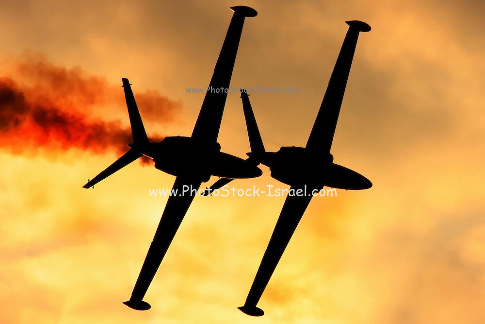2 Israeli Air force Fouga Magister CM-170 in aerobatics display