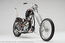 """""""""""The Flimsy Witch"""", a custom chopper built from a 1959 panhead by Chris Graves of Harley-Davidson in Milwaukee, WI. Photographed by Michael Lichter in Sturgis, SD on August 11, 2017. ©2017 Michael Lichter."""