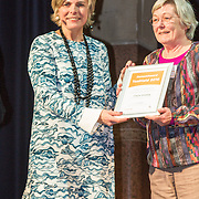 NLD/Amsterdam/20160121 - Uitreiking Taalhelden prijzen 2016 door Prinses Laurentien, Prinses Laurentien en Claire Vrijdag