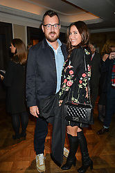 LISA SNOWDON and GEORGE SMART at a party hosted by Ewan Venters CEO of Fortnum & Mason to celebrate the launch of The Cook Book by Tom Parker Bowles held at Fortnum & Mason, 181 Piccadilly, London on 18th October 2016.