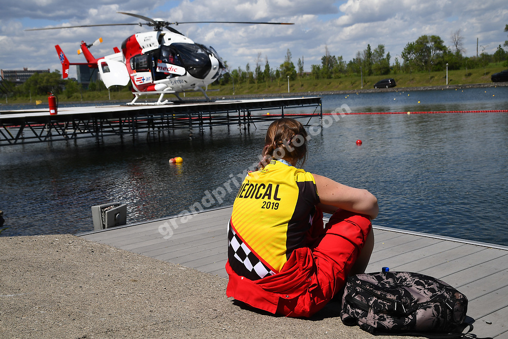 Doctor and medical helicopter during practice for the 2019 Canadian Grand Prix in Montreal. Photo: Grand Prix Photo