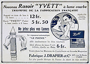 Advertisement for the Yvett pocket razor and a strop for sharpening razors.  From the French periodical 'Le Flambeau', 18 September 1915.  First World War 1914-1918.