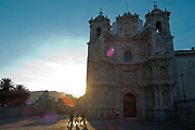 Parroquia de la Preciosa Sangre / Parish of the Precious Blood Church in the evening light, Oaxaca in southern Mexico.