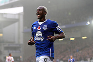 Arouna Kone of Everton celebrates after scoring his teams 6th goal (his 3rd to complete his hat trick) . Barclays Premier League match, Everton v Sunderland at Goodison Park in Liverpool on Sunday 1st November 2015.<br /> pic by Chris Stading, Andrew Orchard sports photography.