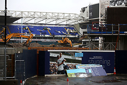 6 June 2017 - Demolition of White Hart Lane<br /> A general view (gv) of demolition at White Hart Lane ; A celebration picture with the caption Stunning ironically sits in front<br /> Photo: Mark Leech