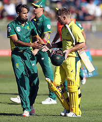 Imran Tahir of South Africa with David Warner of Australia after taking his wicket during the 3rd ODI match between South Africa and Australia held at Kingsmead Stadium in Durban, Kwazulu Natal, South Africa on the 5th October  2016<br /> <br /> Photo by: Steve Haag/ RealTime Images