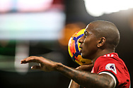 Ashley Young of Manchester United takes a throw in .<br /> Premier league match, Chelsea v Manchester United at Stamford Bridge in London on Sunday 5th November 2017.<br /> pic by Kieran Clarke, Andrew Orchard sports photography.