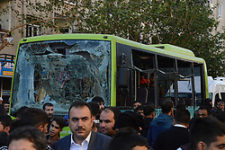 A car bomb has exploded in Baglar city of Diyarbakir, southeastern Turkey, killing one person and wounding around 30 others, 4th of November, 2016. The attack in the country's largest Kurdish-majority city followed the overnight arrests of the two leaders of the Peoples' Democratic Party (HDP) along with up to 11 other MPs from the group. Photo by Depo Photo/ABACAPRESS.COM