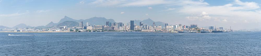 View of Rio de Janeiro downtown from the sea, Brazil.