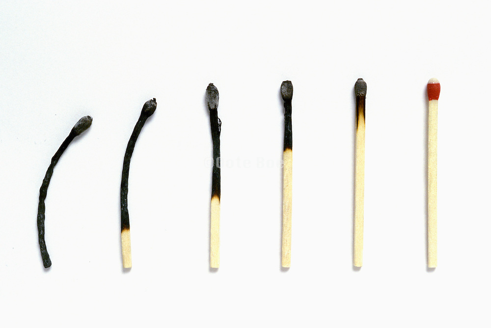 succession of matches from unused to charred