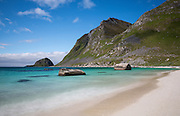 Images from the Lofoten Islands in arctic Norway at midsummer; this is the stunning beach of Haukland, not far from Leknes