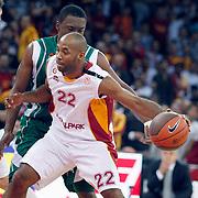 Galatasaray's Jamon Lucas GORDON (F) during their Euroleague Game 2 basketball match Galatasaray between Unics Kazan at the Abdi Ipekci Arena in Istanbul at Turkey on Thursday, October, 27, 2011. Photo by TURKPIX