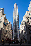 75 Rockefeller Plaza skyscraper off 5th Avenue, Midtown, Manhattan, New York City, New York, United Sates of America. It was built in 1947 as an extension to the Rockefeller Centre and is early Modernist style.  At completion it was the tallest completely air-conditioned building in the city.