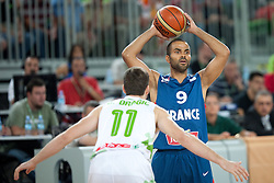 Tony Parker of France and Goran Dragic of Slovenia during friendly match between National teams of Slovenia and France for Eurobasket 2013 on August 31, 2013 in Arena Stozice, Ljubljana, Slovenia. (Photo by Matic Klansek Velej / Sportida.com)