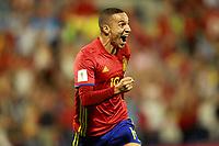 Spain's Rodrigo Moreno celebrates goal during FIFA World Cup 2018 Qualifying Round match. October 6,2017.(ALTERPHOTOS/Acero)