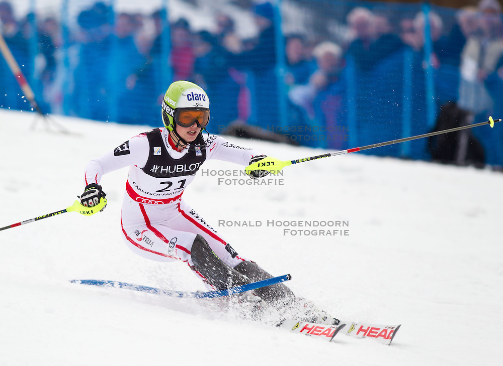 11-02-2011 SKIEN: FIS ALPINE WORLD CHAMPIONSSHIP: GARMISCH PARTENKIRCHEN<br /> Gold Medal and World Champion Anna Fenninger (AUT) during ladies Supercombi<br /> **NETHERLANDS ONLY**<br /> ©2011-WWW.FOTOHOOGENDOORN.NL/EXPA/ J. Groder