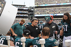 Offensive line coach Jeff Stoutland talks to the offensive line during the game against the Buffalo Bills at Lincoln Financial Field on Dec 13, 2015 in Philadelphia, Pa. (Photo by John Geliebter/Philadelphia Eagles)
