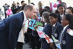 The Duke of Cambridge arrives to watch wheelchair basketball during a SportsAid event at the Copper Box in the Olympic Park, London.
